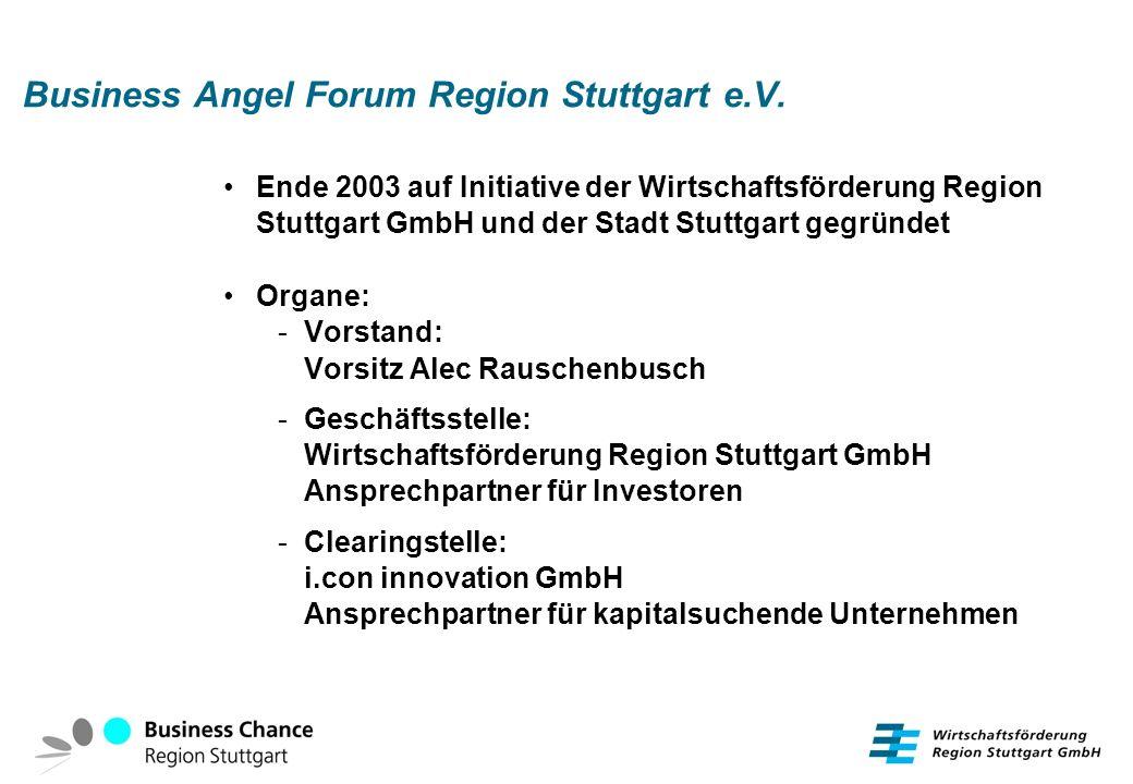 Business Angel Forum Region Stuttgart e.V.seit 2003 im Aufbau Mitgliederzahl: derzeit 19 (ca.
