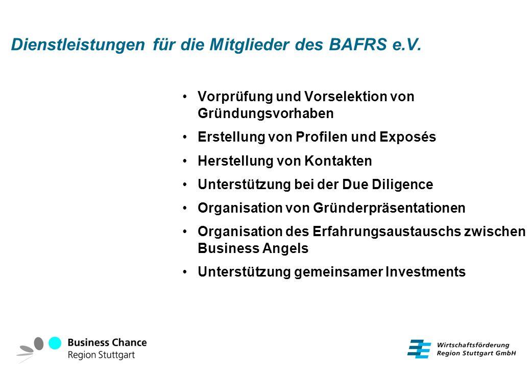 Dienstleistungen für die Mitglieder des BAFRS e.V. Vorprüfung und Vorselektion von Gründungsvorhaben Erstellung von Profilen und Exposés Herstellung v