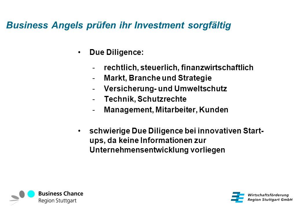 Business Angels prüfen ihr Investment sorgfältig Due Diligence: - rechtlich, steuerlich, finanzwirtschaftlich - Markt, Branche und Strategie - Versich