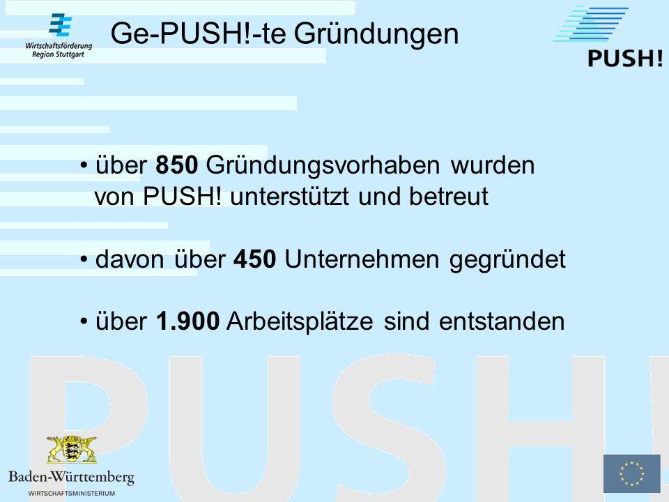 Der Internet-Auftritt des PUSH!-Netzwerkes PUSH!-Online Informiert über alle wesentlichen Inhalte des Projektes Bietet den Gründern eine Übersicht über das PUSH!- Unterstützungsangebot und die Leistungen der PUSH!-Netzwerkpartner www.push-stuttgart.de