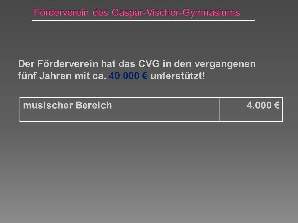 Der Förderverein hat das CVG in den vergangenen fünf Jahren mit ca. 40.000 unterstützt! musischer Bereich4.000