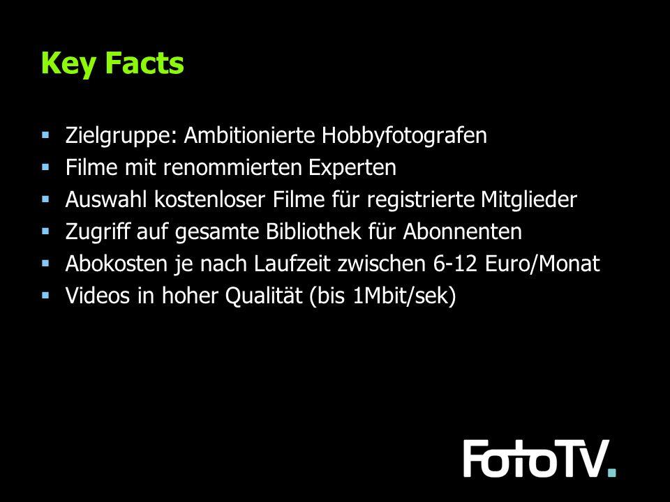 Key Facts Zielgruppe: Ambitionierte Hobbyfotografen Filme mit renommierten Experten Auswahl kostenloser Filme für registrierte Mitglieder Zugriff auf