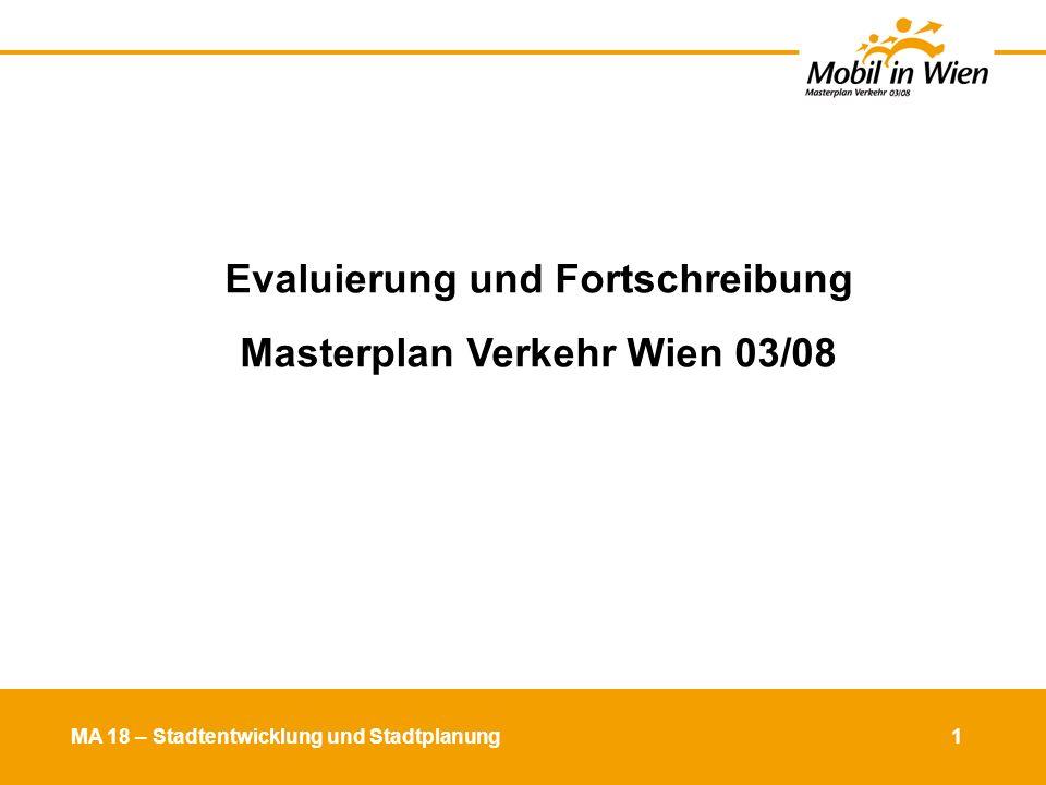 MA 18 – Stadtentwicklung und Stadtplanung 2 Ausgangslage Verkehrsverhalten (2003) Verkehrsmittelwahl WienerInnen und EinpendlerInnen