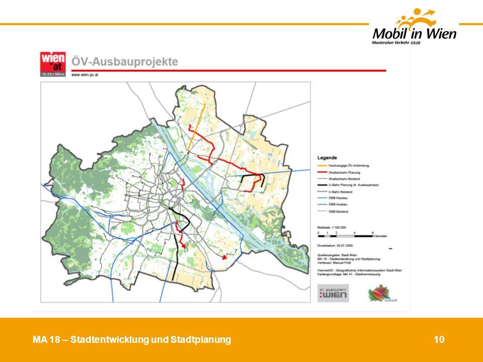 MA 18 – Stadtentwicklung und Stadtplanung 11 MIV-Ausbauprojekte
