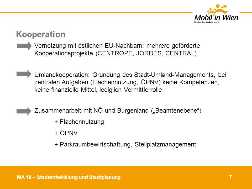 MA 18 – Stadtentwicklung und Stadtplanung 8 Kfz-Fahrleistung der WienerInnen in Mio.