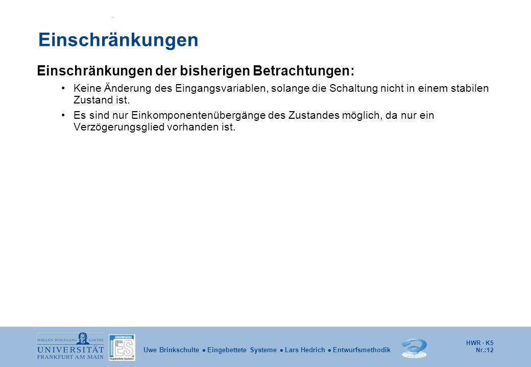 HWR · K5 Nr.:12 Uwe Brinkschulte Eingebettete Systeme Lars Hedrich Entwurfsmethodik Einschränkungen Einschränkungen der bisherigen Betrachtungen: Kein