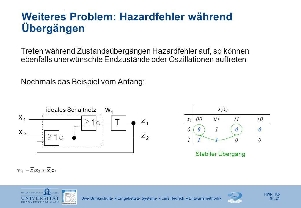 HWR · K5 Nr.:21 Uwe Brinkschulte Eingebettete Systeme Lars Hedrich Entwurfsmethodik Weiteres Problem: Hazardfehler während Übergängen Treten während Z