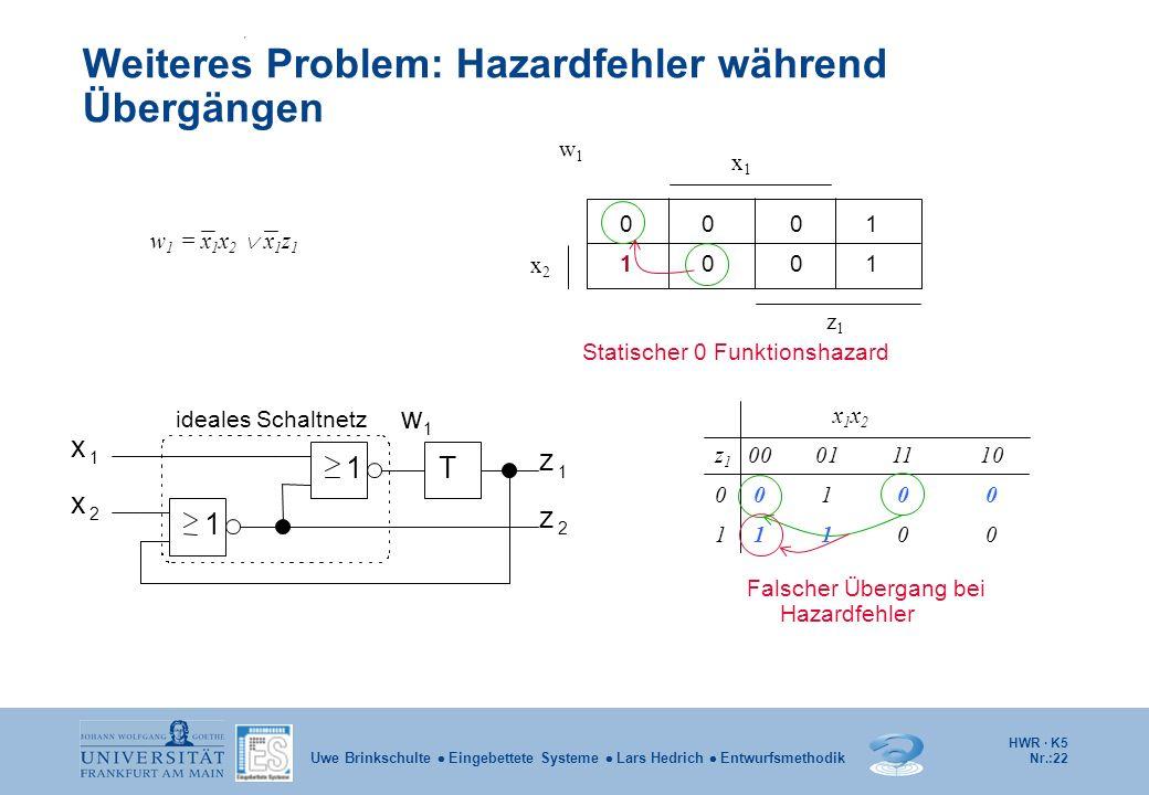 HWR · K5 Nr.:22 Uwe Brinkschulte Eingebettete Systeme Lars Hedrich Entwurfsmethodik Weiteres Problem: Hazardfehler während Übergängen ideales Schaltne