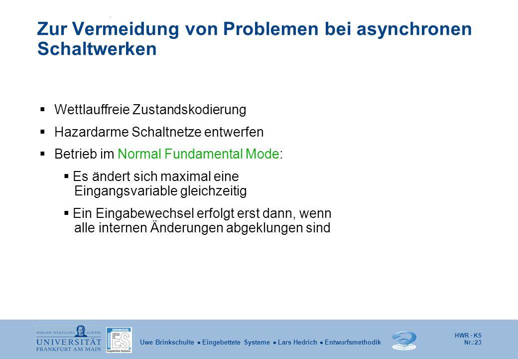 HWR · K5 Nr.:23 Uwe Brinkschulte Eingebettete Systeme Lars Hedrich Entwurfsmethodik Zur Vermeidung von Problemen bei asynchronen Schaltwerken Wettlauf