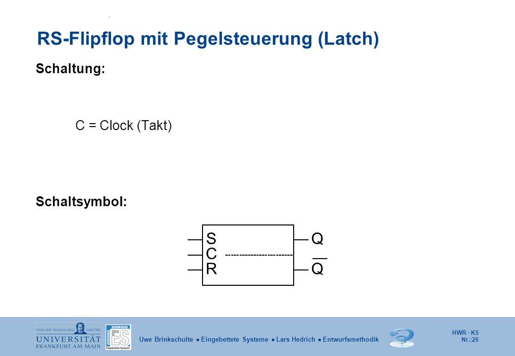 HWR · K5 Nr.:26 Uwe Brinkschulte Eingebettete Systeme Lars Hedrich Entwurfsmethodik RS-Flipflop mit Pegelsteuerung (Latch) Schaltung: C = Clock (Takt)