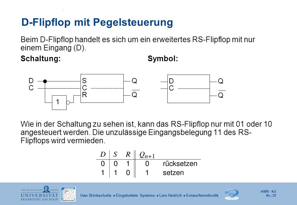 HWR · K5 Nr.:30 Uwe Brinkschulte Eingebettete Systeme Lars Hedrich Entwurfsmethodik D-Flipflop mit Pegelsteuerung Beim D-Flipflop handelt es sich um e