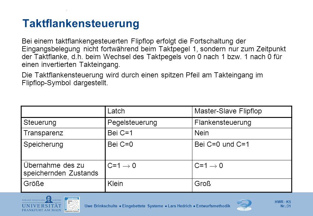 HWR · K5 Nr.:31 Uwe Brinkschulte Eingebettete Systeme Lars Hedrich Entwurfsmethodik Taktflankensteuerung Bei einem taktflankengesteuerten Flipflop erf