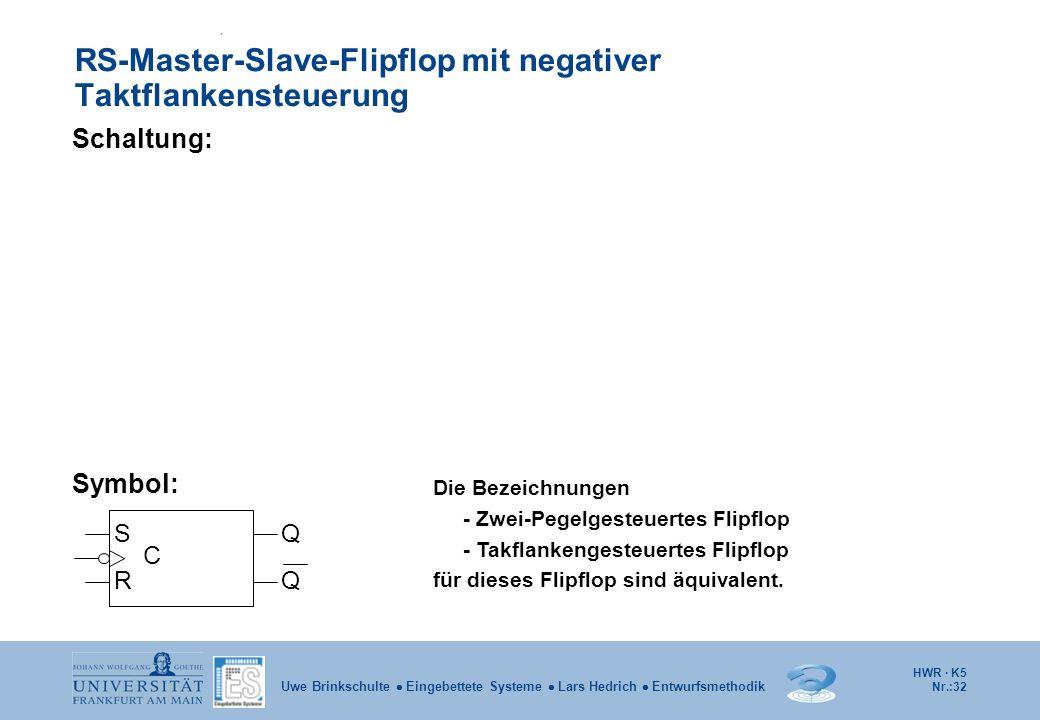 HWR · K5 Nr.:32 Uwe Brinkschulte Eingebettete Systeme Lars Hedrich Entwurfsmethodik RS-Master-Slave-Flipflop mit negativer Taktflankensteuerung Schalt