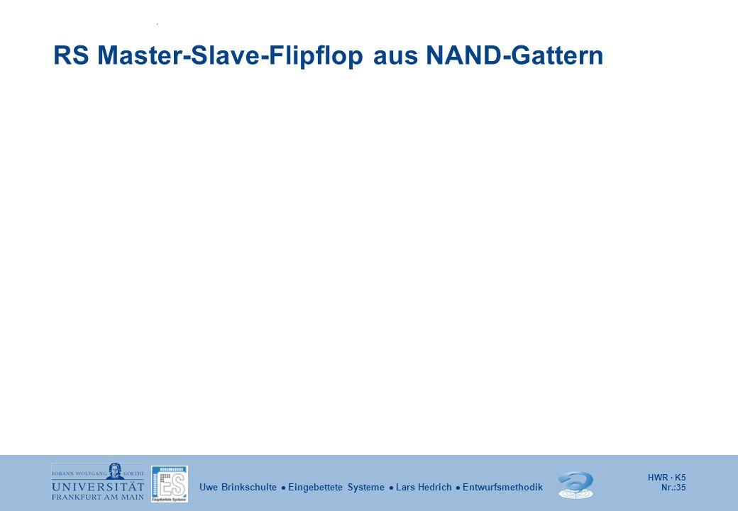 HWR · K5 Nr.:35 Uwe Brinkschulte Eingebettete Systeme Lars Hedrich Entwurfsmethodik RS Master-Slave-Flipflop aus NAND-Gattern