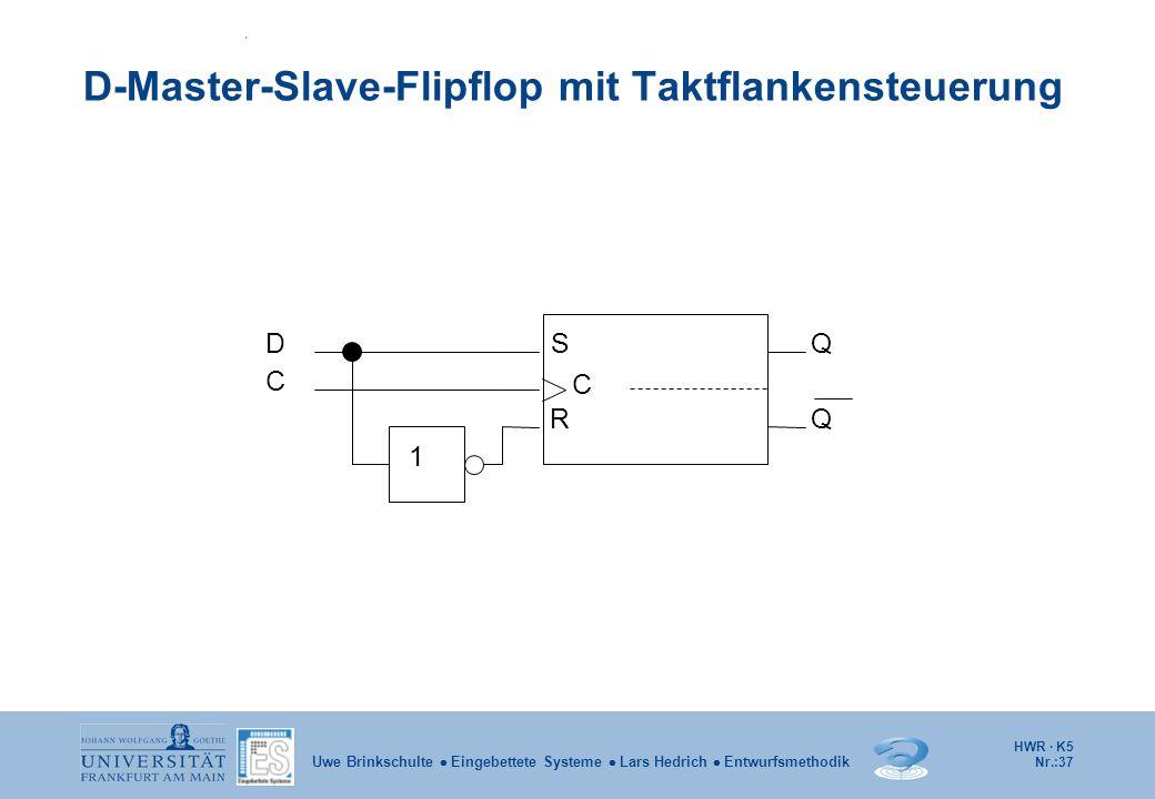 HWR · K5 Nr.:37 Uwe Brinkschulte Eingebettete Systeme Lars Hedrich Entwurfsmethodik D-Master-Slave-Flipflop mit Taktflankensteuerung DSQ Q C 1 C R