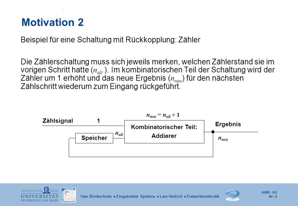 HWR · K5 Nr.:4 Uwe Brinkschulte Eingebettete Systeme Lars Hedrich Entwurfsmethodik Motivation 2 Beispiel für eine Schaltung mit Rückkopplung: Zähler D