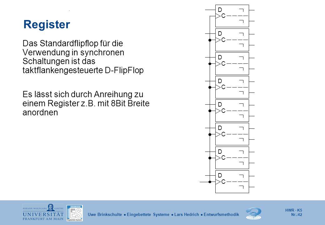 HWR · K5 Nr.:42 Uwe Brinkschulte Eingebettete Systeme Lars Hedrich Entwurfsmethodik Register Das Standardflipflop für die Verwendung in synchronen Sch