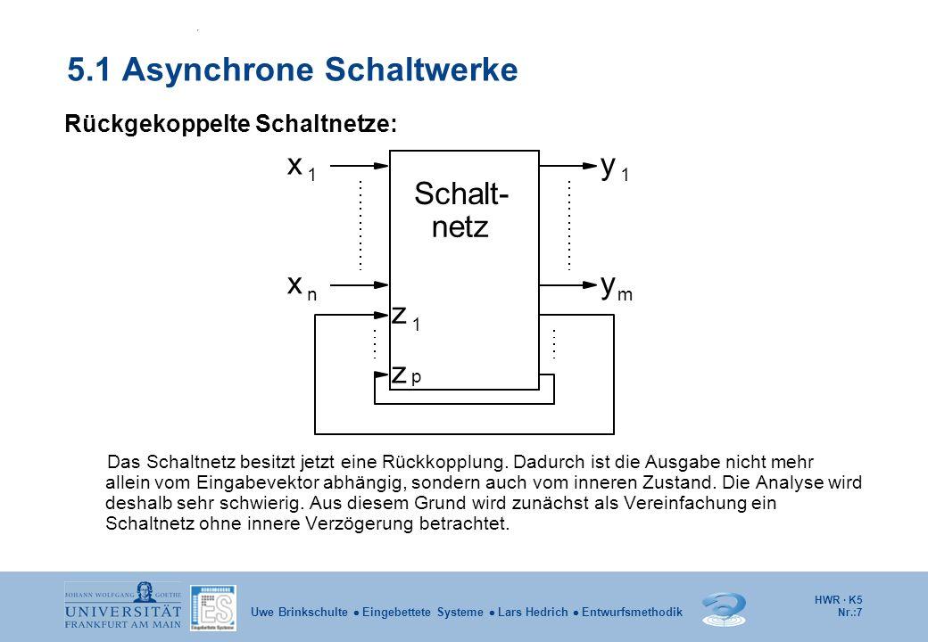 HWR · K5 Nr.:7 Uwe Brinkschulte Eingebettete Systeme Lars Hedrich Entwurfsmethodik 5.1 Asynchrone Schaltwerke Rückgekoppelte Schaltnetze: Das Schaltne