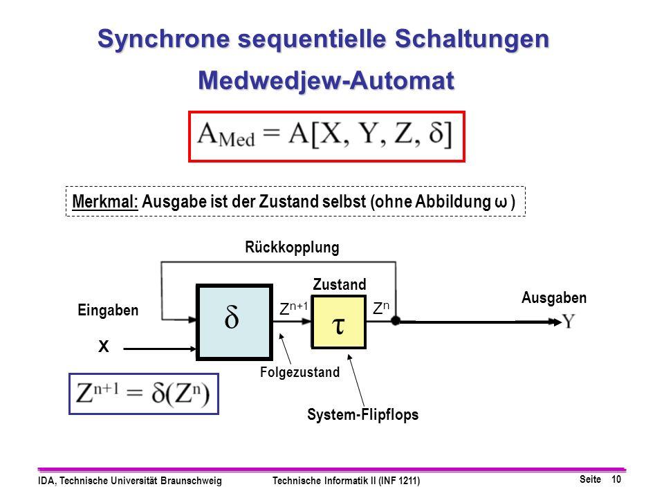 Seite 10 IDA, Technische Universität BraunschweigTechnische Informatik II (INF 1211) Medwedjew-Automat System-Flipflops Zustand Eingaben Ausgaben Folg