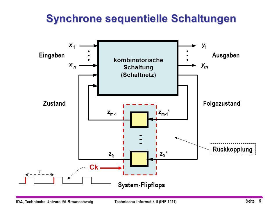 Seite 16 IDA, Technische Universität BraunschweigTechnische Informatik II (INF 1211) z 0 = x z 0 z 1 z 1 = x z 0 + x z 1 y = x z 1 Z x y z1z1 z0z0 z1z1 z0z0 & & & z1z1 z0z0 z1z1 z0z0 Z Das gesamte Schaltwerk kann also wie folgt realisiert werden: System Flip-Flops Ck Takt