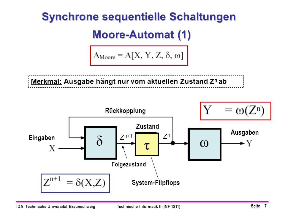 Seite 8 IDA, Technische Universität BraunschweigTechnische Informatik II (INF 1211) Moore-Automat (2) System-Flipflops Zustand Eingaben Ausgaben Folgezustand Rückkopplung Synchrone sequentielle Schaltungen δ ω τ ZnZn Z n+1 Merkmal: Ausgabe hängt vom nächsten Zustand Z n+1 ab