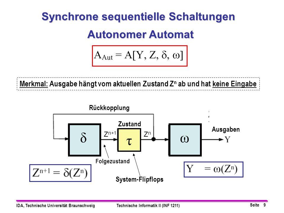 Seite 9 IDA, Technische Universität BraunschweigTechnische Informatik II (INF 1211) Autonomer Automat System-Flipflops Zustand Ausgaben Folgezustand R