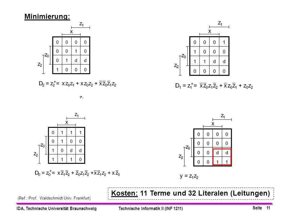 Seite 11 IDA, Technische Universität BraunschweigTechnische Informatik II (INF 1211) Minimierung: (Ref.: Prof.