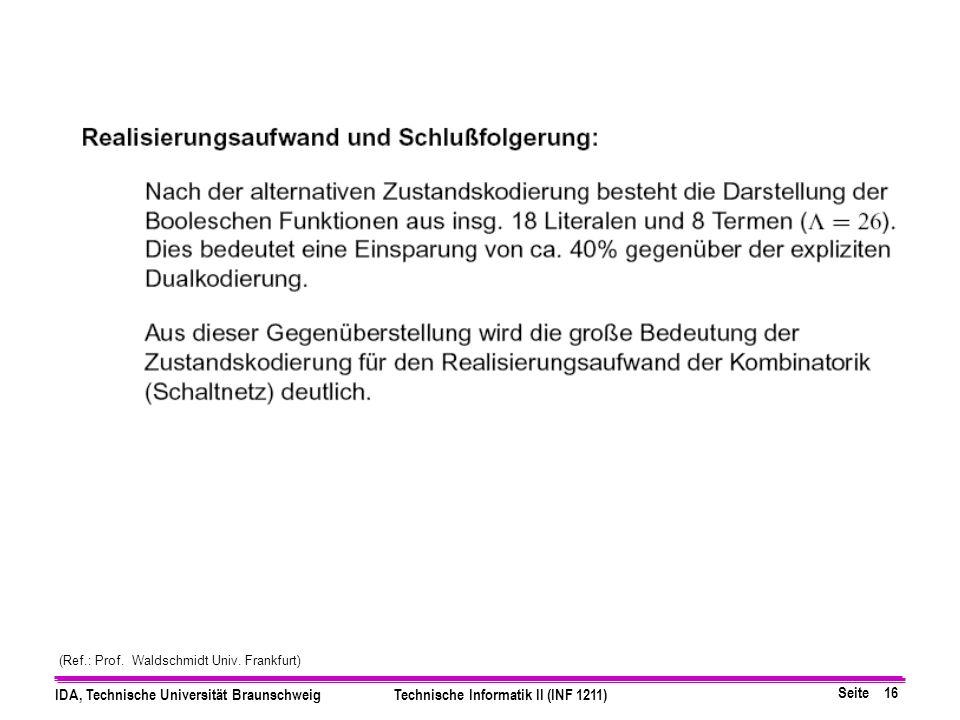 Seite 16 IDA, Technische Universität BraunschweigTechnische Informatik II (INF 1211) (Ref.: Prof.