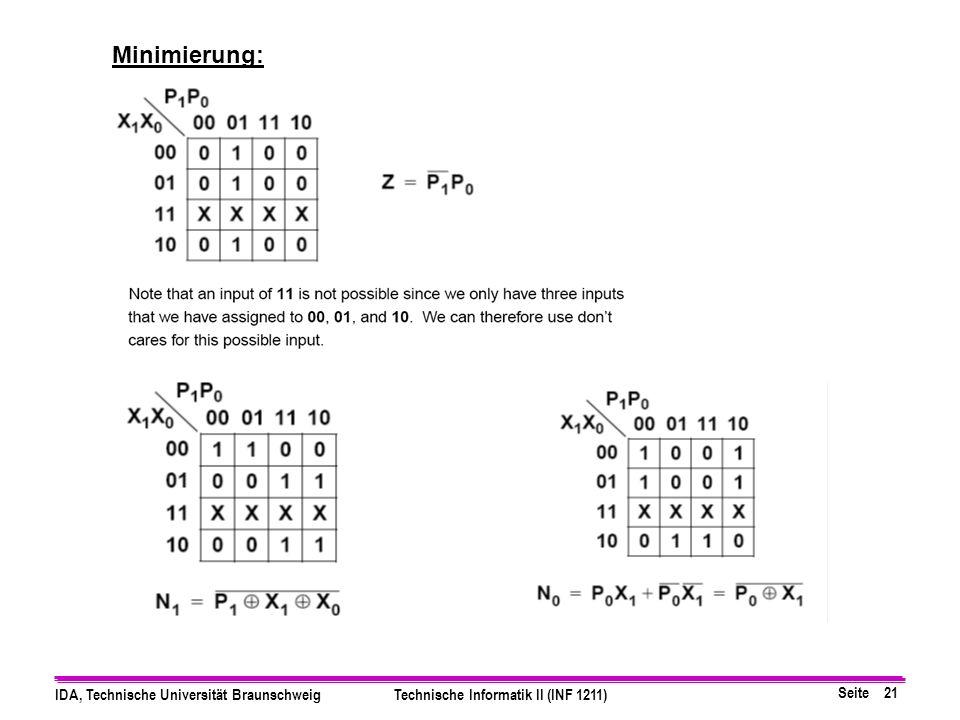 Seite 21 IDA, Technische Universität BraunschweigTechnische Informatik II (INF 1211) Minimierung: