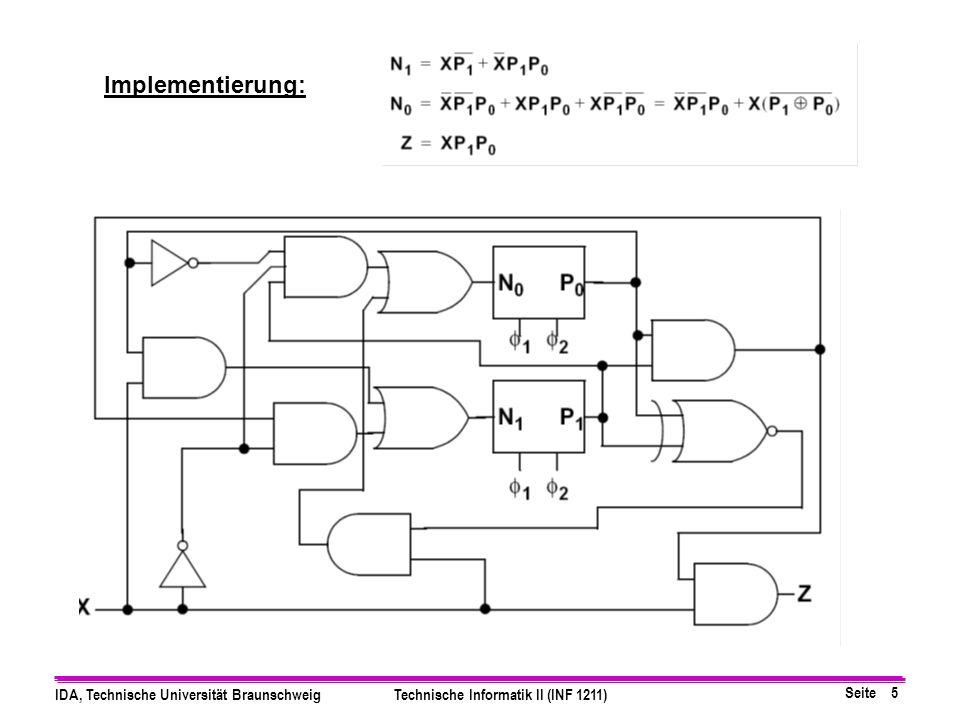 Seite 5 IDA, Technische Universität BraunschweigTechnische Informatik II (INF 1211) Implementierung:
