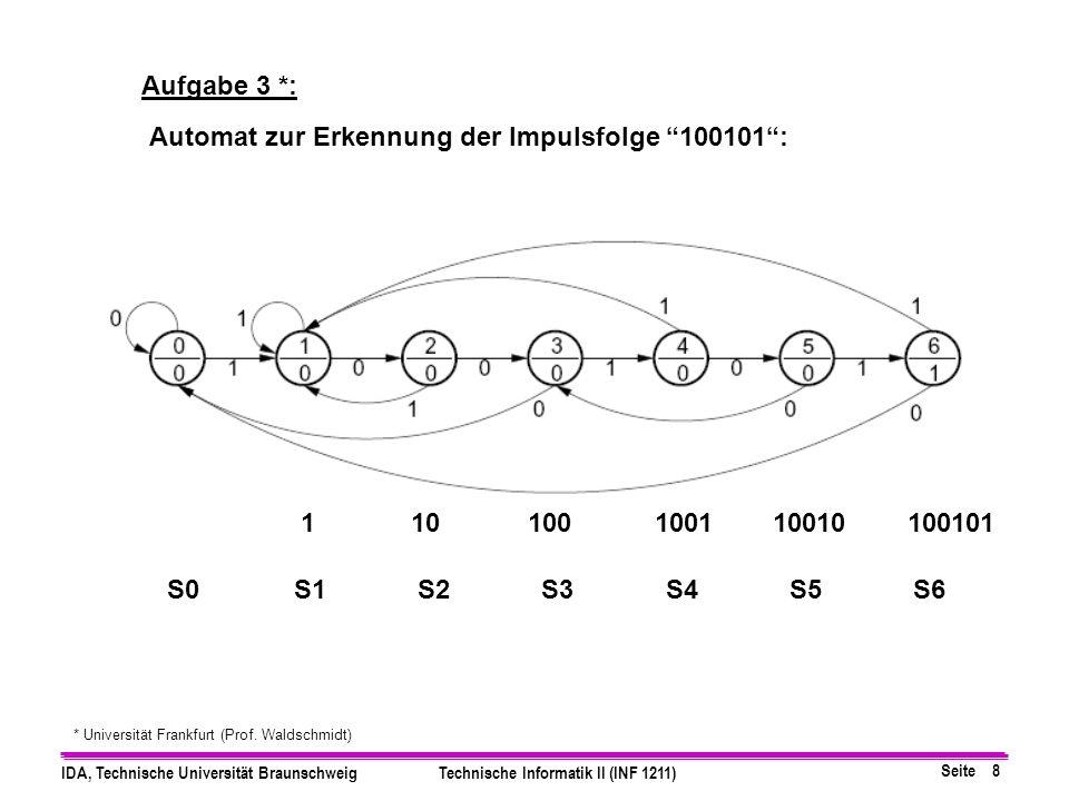 Seite 8 IDA, Technische Universität BraunschweigTechnische Informatik II (INF 1211) Aufgabe 3 *: * Universität Frankfurt (Prof.