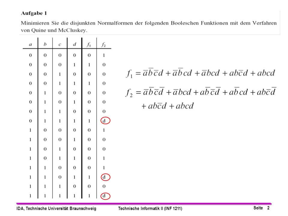 Seite 2 IDA, Technische Universität BraunschweigTechnische Informatik II (INF 1211)