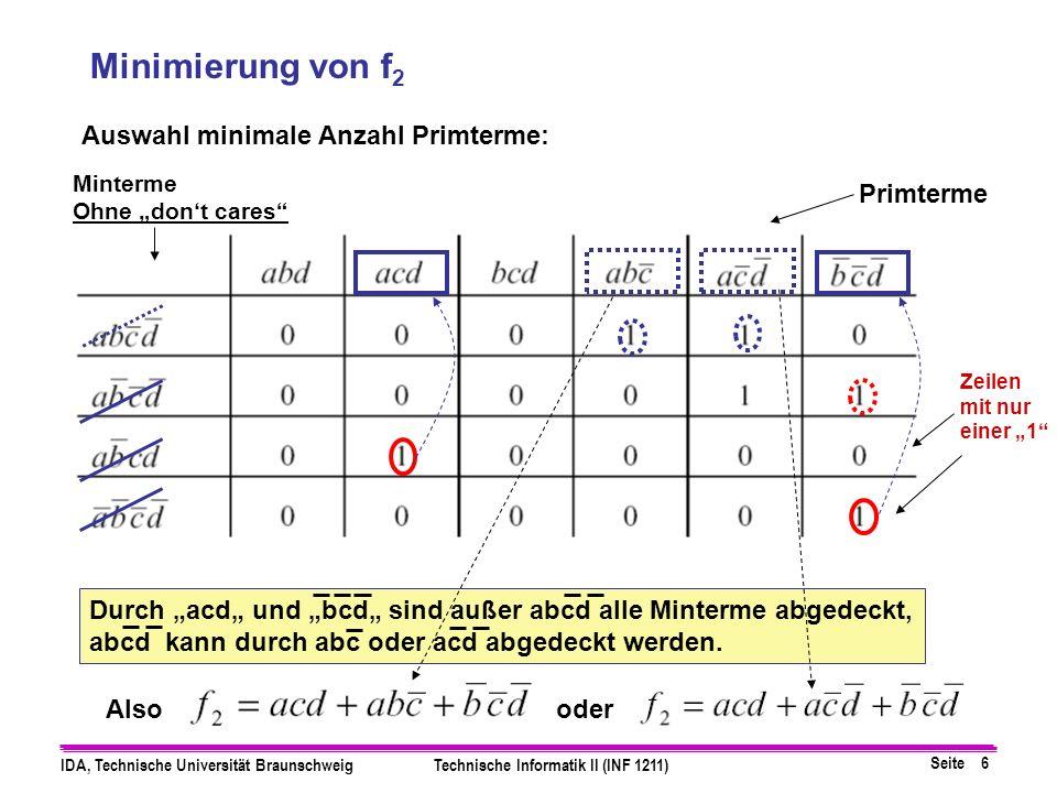 Seite 6 IDA, Technische Universität BraunschweigTechnische Informatik II (INF 1211) Durch acd und bcd sind außer abcd alle Minterme abgedeckt, abcd kann durch abc oder acd abgedeckt werden.