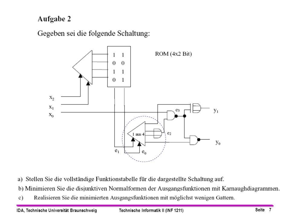 Seite 8 IDA, Technische Universität BraunschweigTechnische Informatik II (INF 1211) Wertetabelle für 1 aus 4 Decoder