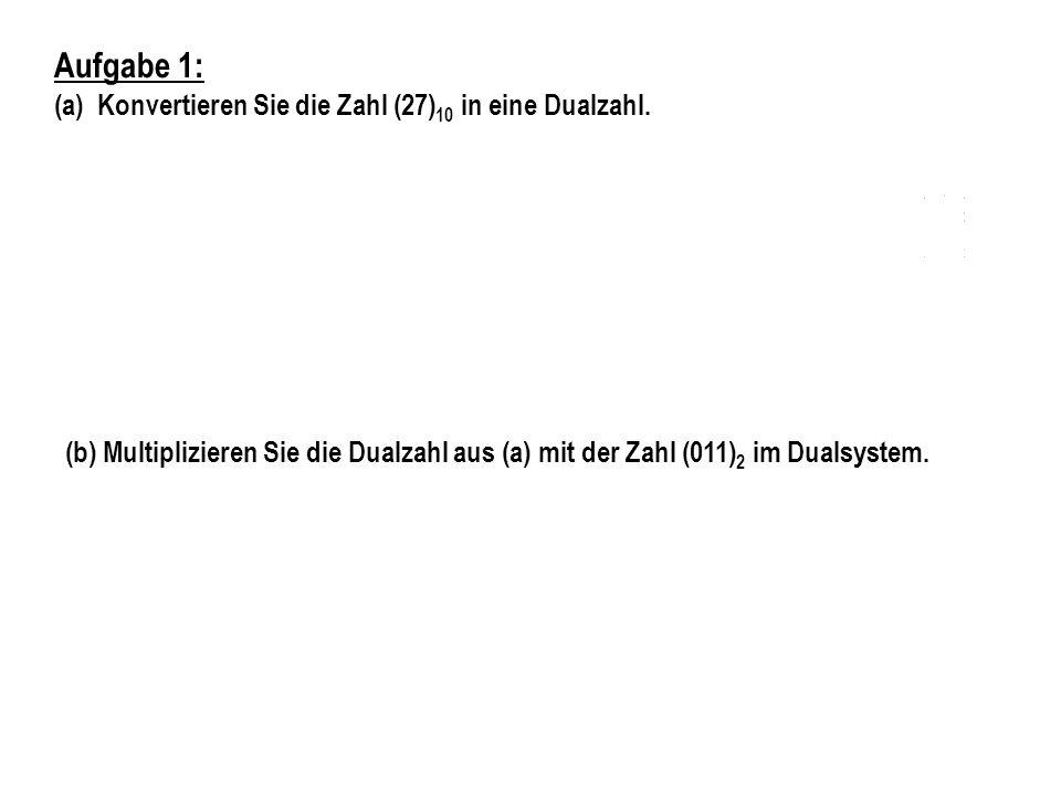 Aufgabe 2: Konvertieren Sie die Zahl 21,3 in die Festkommadarstellung zur Basis 2 mit 5 Vor- und 4 Nachkommastellen.