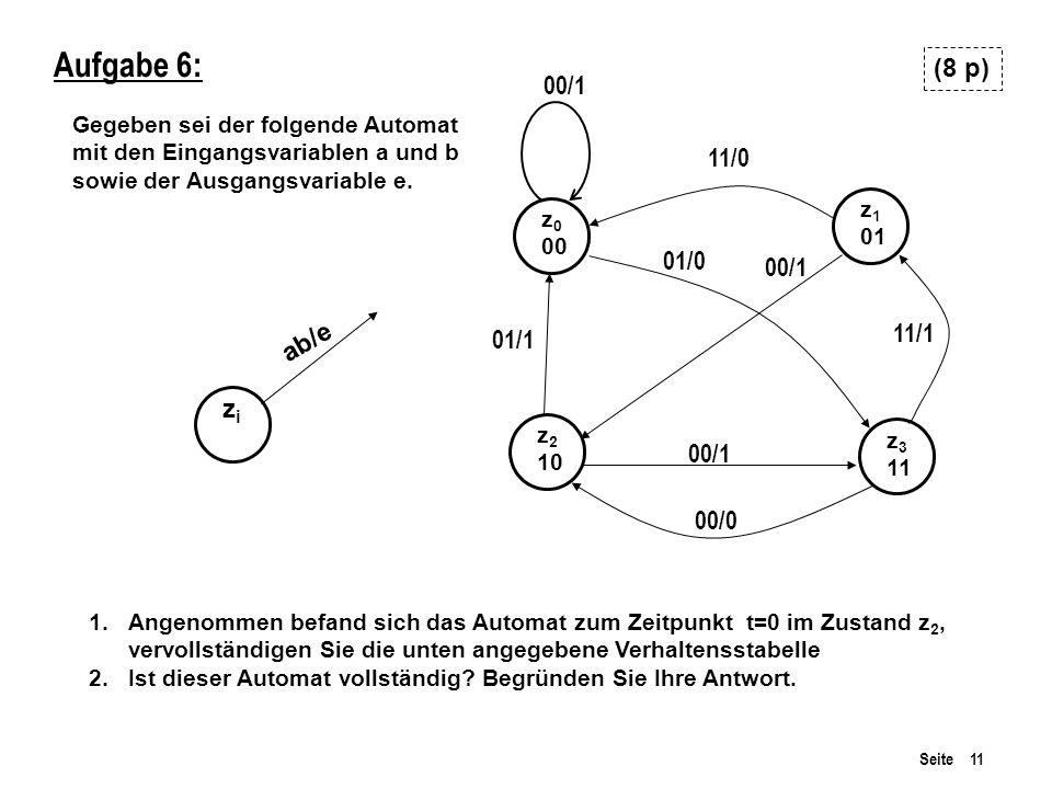 Seite 11 Aufgabe 6: Gegeben sei der folgende Automat mit den Eingangsvariablen a und b sowie der Ausgangsvariable e.