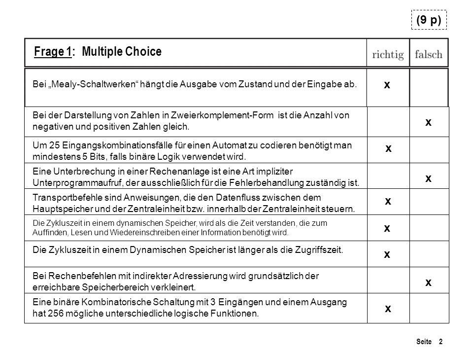 Seite 2 Frage 1: Multiple Choice Bei der Darstellung von Zahlen in Zweierkomplement-Form ist die Anzahl von negativen und positiven Zahlen gleich. x B