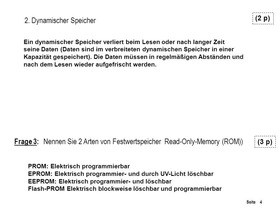 Seite 4 2. Dynamischer Speicher (2 p) Frage 3: Nennen Sie 2 Arten von Festwertspeicher Read-Only-Memory (ROM)) (3 p) PROM: Elektrisch programmierbar E