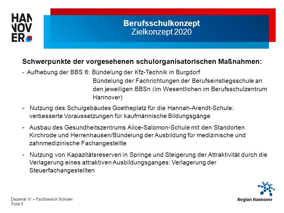Folie 5 Berufsschulkonzept Zielkonzept 2020 Schwerpunkte der vorgesehenen schulorganisatorischen Maßnahmen: - Aufhebung der BBS 6: Bündelung der Kfz-T