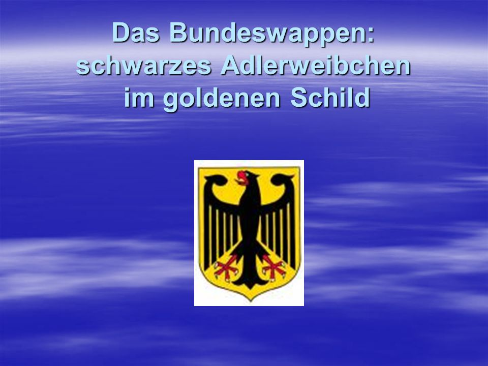 Das Bundeswappen: schwarzes Adlerweibchen im goldenen Schild