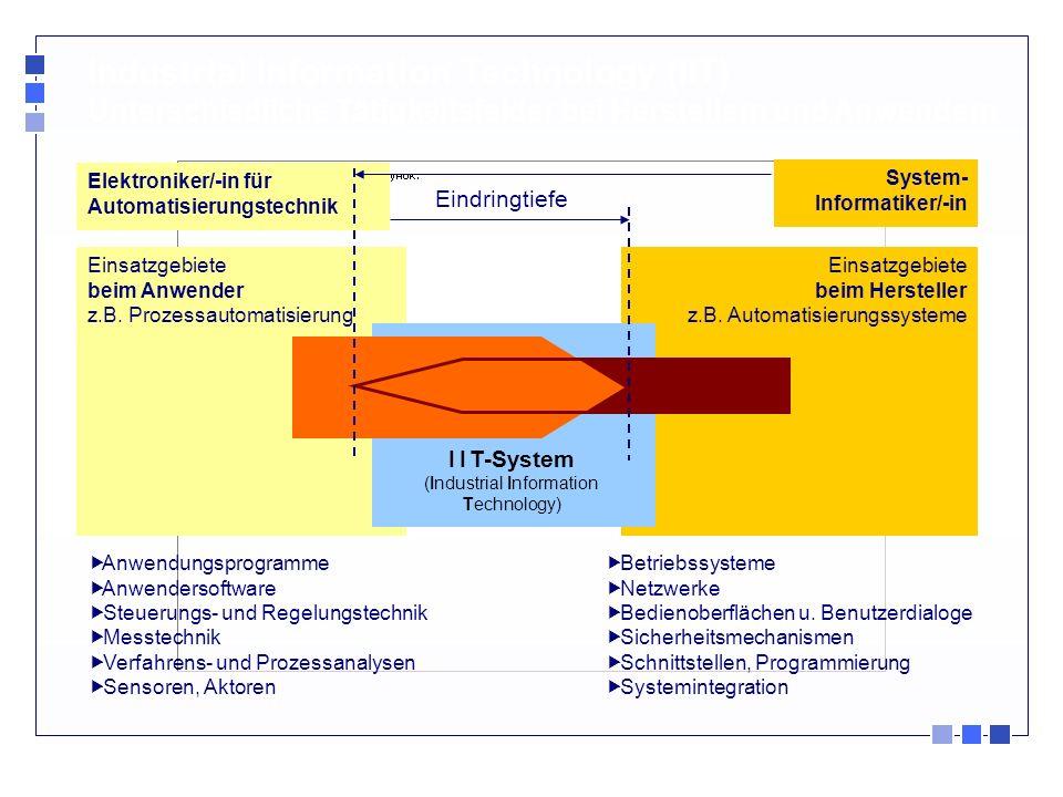 Industrial Information Technology (IIT) Unterschiedliche Tätigkeitsfelder bei Herstellern und Anwendern Einsatzgebiete beim Anwender z.B. Prozessautom