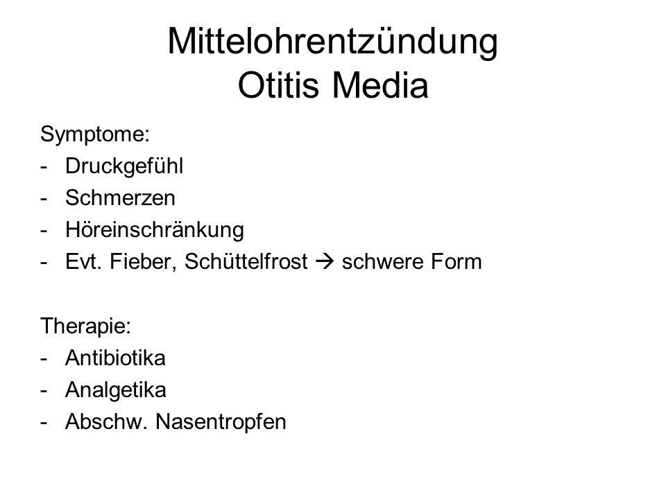 Mittelohrentzündung Otitis Media Symptome: -Druckgefühl -Schmerzen -Höreinschränkung -Evt. Fieber, Schüttelfrost schwere Form Therapie: -Antibiotika -