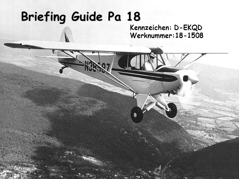 Briefing Guide Pa 18 Briefing Guide Pa 18 Kennzeichen: D-EKQD Werknummer:18-1508