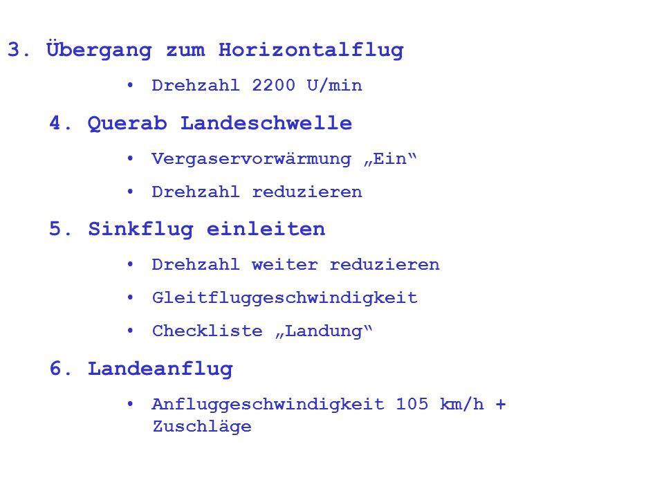 3.Übergang zum Horizontalflug Drehzahl 2200 U/min 4.