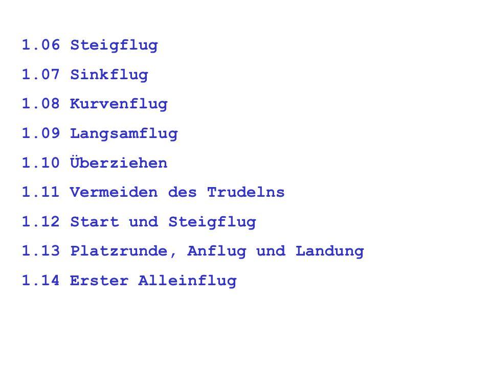 1.06 Steigflug 1.07 Sinkflug 1.08 Kurvenflug 1.09 Langsamflug 1.10 Überziehen 1.11 Vermeiden des Trudelns 1.12 Start und Steigflug 1.13 Platzrunde, Anflug und Landung 1.14 Erster Alleinflug