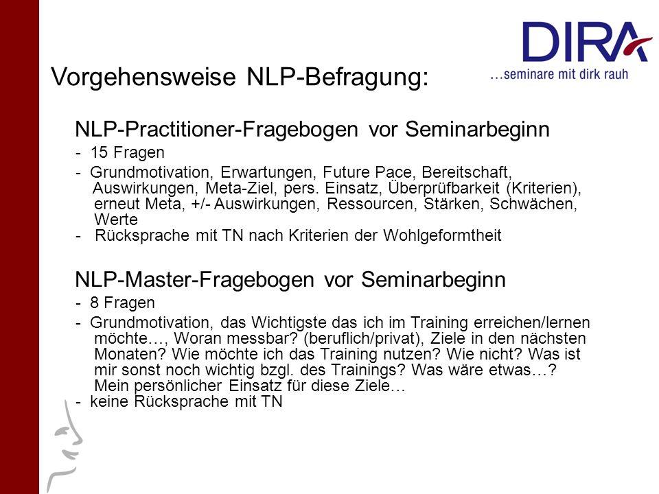 Vorgehensweise NLP-Befragung: NLP-Practitioner-Fragebogen vor Seminarbeginn - 15 Fragen - Grundmotivation, Erwartungen, Future Pace, Bereitschaft, Aus