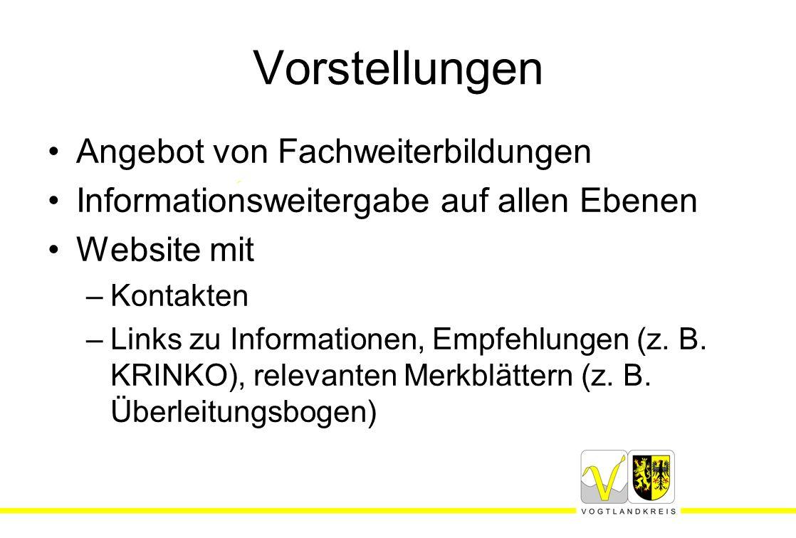 Vorstellungen Angebot von Fachweiterbildungen Informationsweitergabe auf allen Ebenen Website mit –Kontakten –Links zu Informationen, Empfehlungen (z.