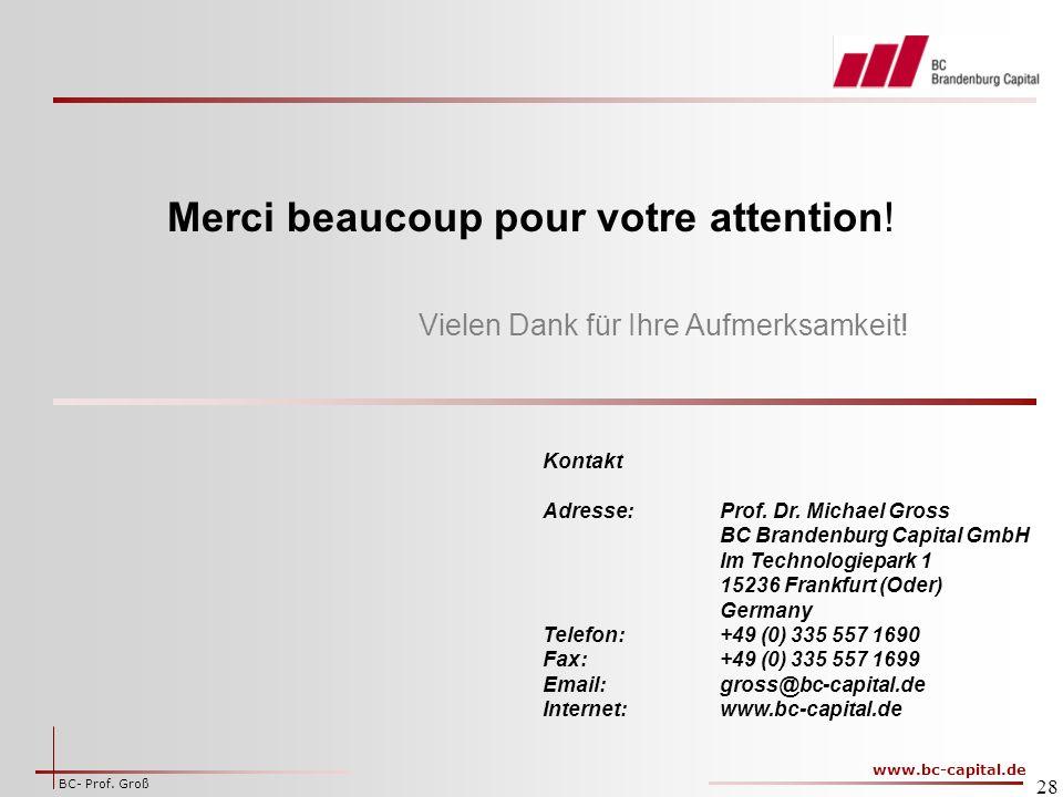 www.bc-capital.de BC- Prof.Groß 28 Vielen Dank für Ihre Aufmerksamkeit.