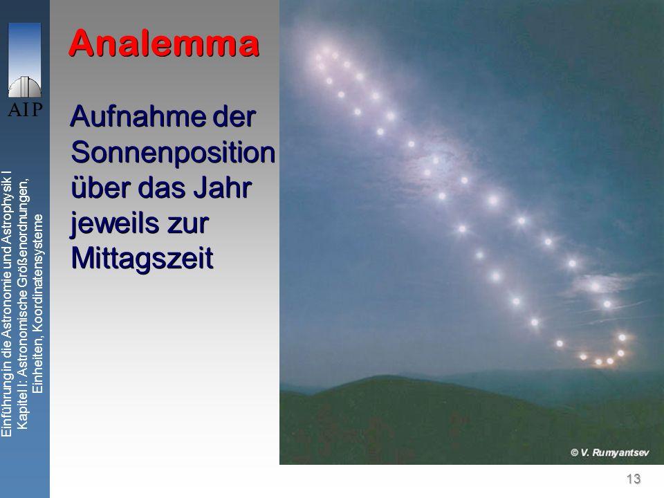 13 Einführung in die Astronomie und Astrophysik I Kapitel I: Astronomische Größenordnungen, Einheiten, Koordinatensysteme Analemma Aufnahme der Sonnenposition über das Jahr jeweils zur Mittagszeit