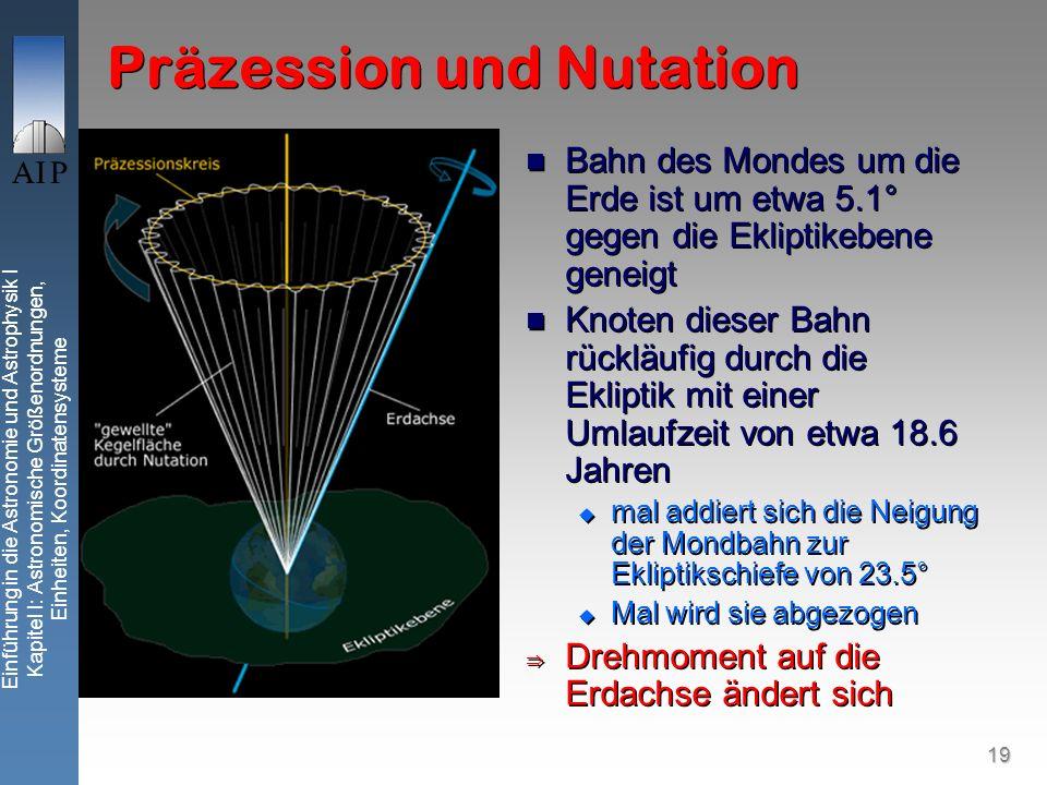 19 Einführung in die Astronomie und Astrophysik I Kapitel I: Astronomische Größenordnungen, Einheiten, Koordinatensysteme Präzession und Nutation Bahn des Mondes um die Erde ist um etwa 5.1° gegen die Ekliptikebene geneigt Knoten dieser Bahn rückläufig durch die Ekliptik mit einer Umlaufzeit von etwa 18.6 Jahren mal addiert sich die Neigung der Mondbahn zur Ekliptikschiefe von 23.5° Mal wird sie abgezogen Drehmoment auf die Erdachse ändert sich Bahn des Mondes um die Erde ist um etwa 5.1° gegen die Ekliptikebene geneigt Knoten dieser Bahn rückläufig durch die Ekliptik mit einer Umlaufzeit von etwa 18.6 Jahren mal addiert sich die Neigung der Mondbahn zur Ekliptikschiefe von 23.5° Mal wird sie abgezogen Drehmoment auf die Erdachse ändert sich